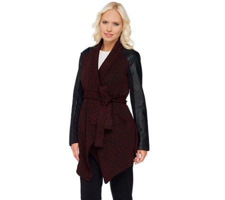 Lisa Rinna Collection Faux Leather Sleeve Wrap Jacket