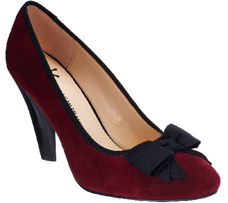 Isaac Mizrahi Live! Stacked Heel Suede Pumps with Bow