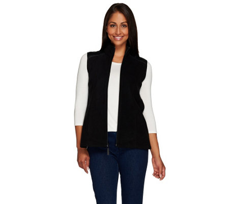 """As Is"" Susan Graver Weekend Polar Fleece Vest with Faux Leather Detail"