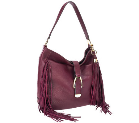 """As Is"" G.I.L.I Leather Stirrup Hobo Bag with Fringe"