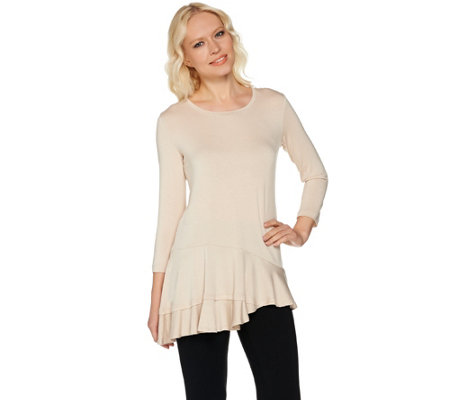 LOGO by Lori Goldstein Knit Top with Asymmetric Hem and Seam Detail
