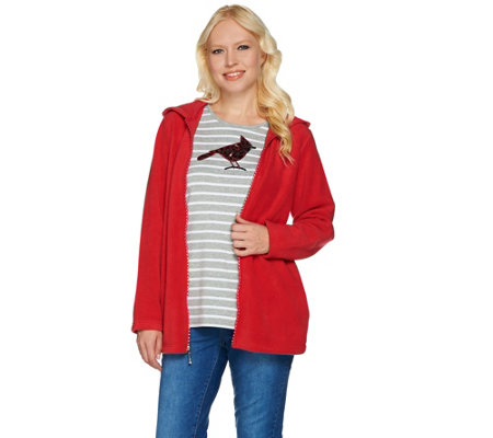 Quacker Factory Fleece Jacket and Sequin Long Sleeve T-shirt Set