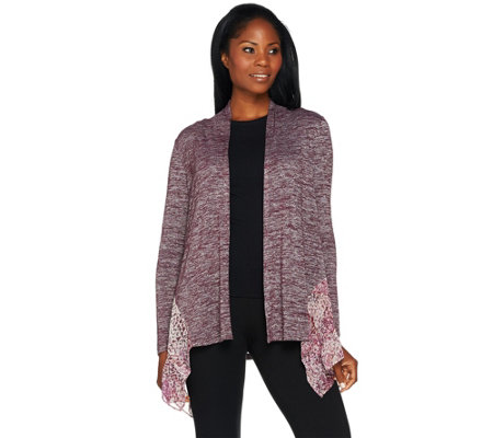 LOGO by Lori Goldstein Space Dye Cardigan with Pleated Chiffon