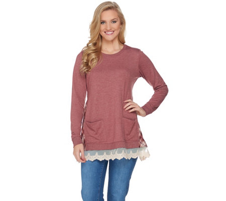 LOGO Lounge by Lori Goldstein French Terry Knit Top with Plaid Detail