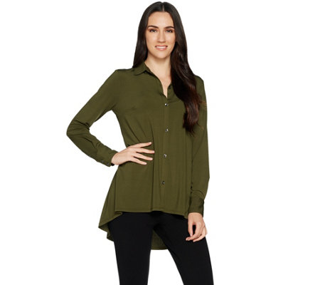 H by Halston Jet Set Jersey Button Front Knit Shirt