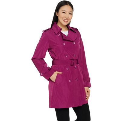 Joan Rivers Double Breasted Water Resistant Trench Coat with Belt