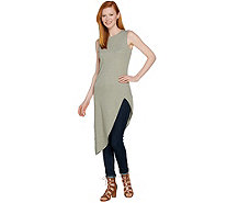 Lisa Rinna Collection Sleeveless Asymmetric Hem Rib Knit Tunic - A289000