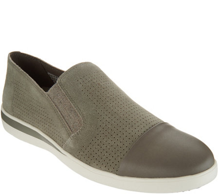 ED Ellen DeGeneres Perforated Suede Slip-Ons - Aviana
