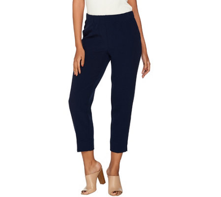 """As Is"" Dennis Basso Textured Pull-On Crop Pants"