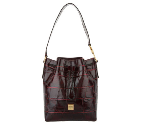 Dooney & Bourke Croco Leather Hattie Drawstring Bag