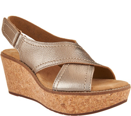 """As Is"" Clarks Artisan Leather Cross Band Wedge Sandals - Aisley Tulip"