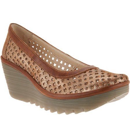 """As Is"" FLY London Leather Perforated Wedges-Yika"