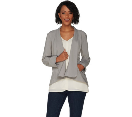 H by Halston Long Sleeve Open Front Jacket with Seam Detail