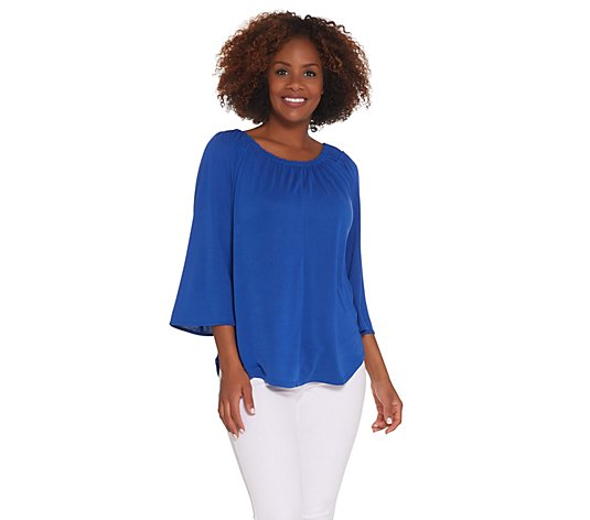 Kelly by Clinton Kelly 3/4 Flutter Sleeve Knit Top
