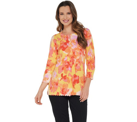 Isaac Mizrahi Live! Floral Printed Cardigan with Scallop Details