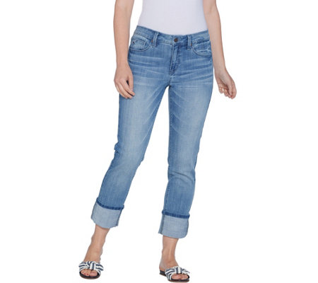 Laurie Felt Classic Denim Stiletto Jeans with Cuff
