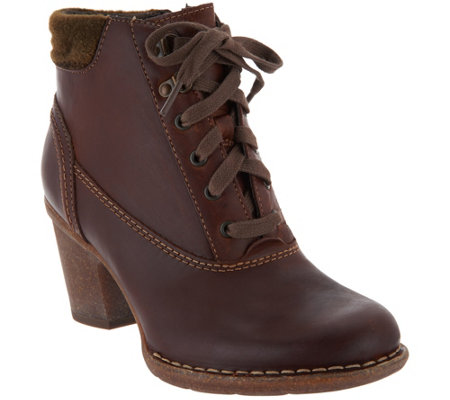 """As Is"" Clarks Artisan Leather Lace-up Ankle Boots - Carleta Crane"