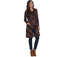 Susan Graver Printed Sweater Knit Duster and Tank Set - A310100