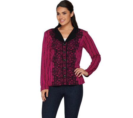 """As Is"" Bob Mackie's Placement Print Lace Knit Jacket"