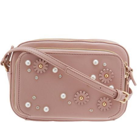 Studio 33 Crossbody Camera Bag with Floral Embellishment