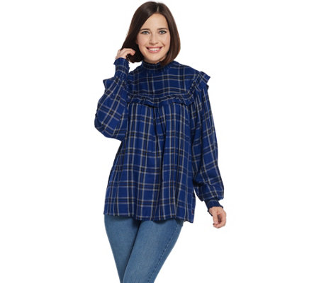 Peace Love World Plaid Blouse with Smocking Details