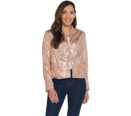H by Halston Distressed Faux Suede Long Sleeve Jacket