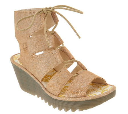 """As Is"" FLY London Leather Ghilllie Lace Up Wedges- Yoll"