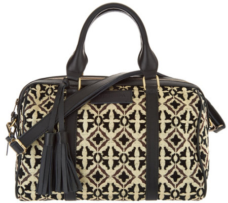 """As Is"" Mushmina Woven Pattern & Leather Satchel"