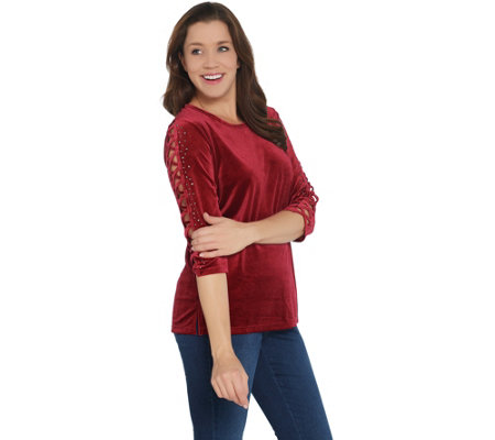 Quacker Factory Rhinestone Lattice Sleeve Knit Velvet Top