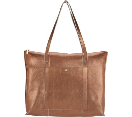 """As Is"" G.I.L.I. Unlined Leather Zip Top Tote"