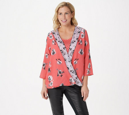 Tolani Collection Floral Printed Twist Front Woven Twinset