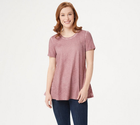 LOGO by Lori Goldstein Distressed Cotton Slub Top with Embroidery