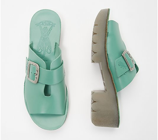 FLY London Leather Mules with Buckle Detail - Cozy