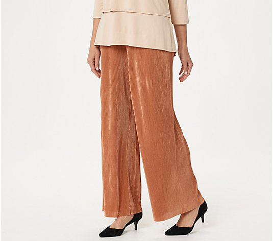 Joan Rivers Regular Solid Accordion Pleat Palazzo Pants