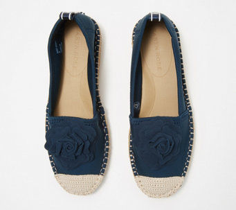 dda2a245a3d6de Taryn Rose Espadrille Slip-Ons with Rose Detail - Quincy - A352300