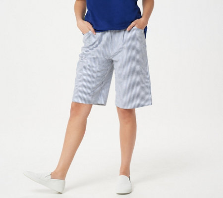Quacker Factory Stretch Seersucker Shorts with Pockets