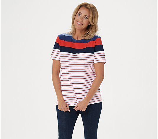 """As Is"" Denim & Co. Active Striped Perfect Jersey Top"