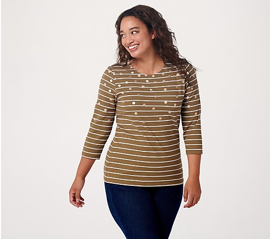 Denim & Co. Striped Perfect Jersey 3/4-Sleeve Top w/ Foil Dot
