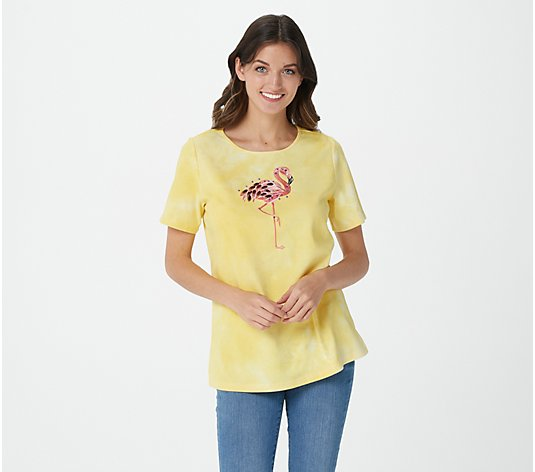 Quacker Factory Tie Dye Embellished Short Sleeve Top