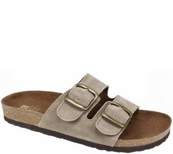 White Mountain Leather Slide Sandals Helga A413000