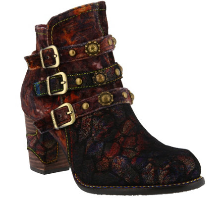 L'Artiste by Spring Step Leather and Velvet Booties - Nakisha