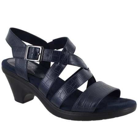 Easy Street Heeled Crossover Strap Sandals - Gretchen