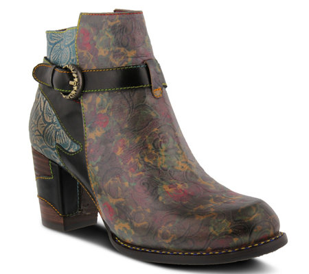 L'Artiste Floral Leather Booties - Tallulah