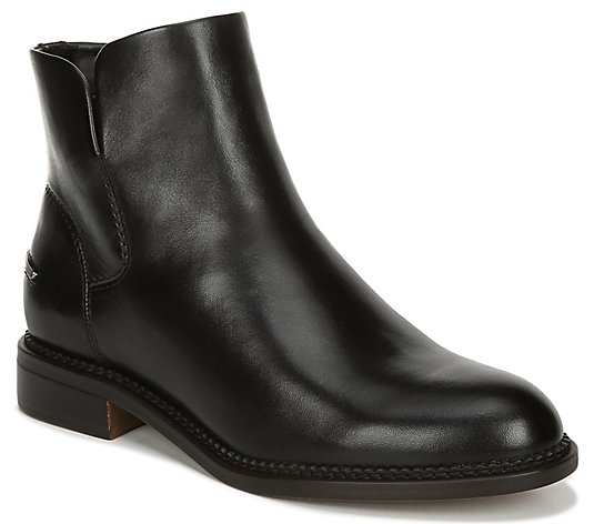 Franco Sarto Leather Stacked Heel Booties - Happily