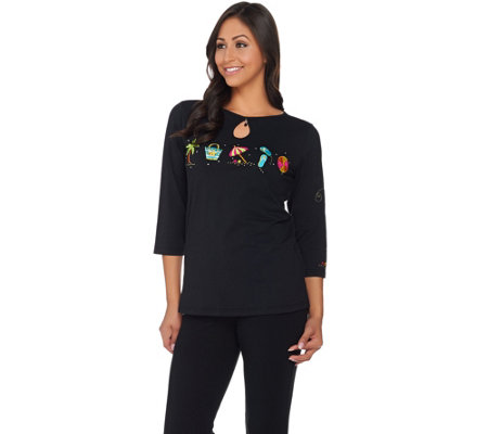 Quacker Factory Embroidered 3/4 Sleeve Keyhole T-shirt with Charm