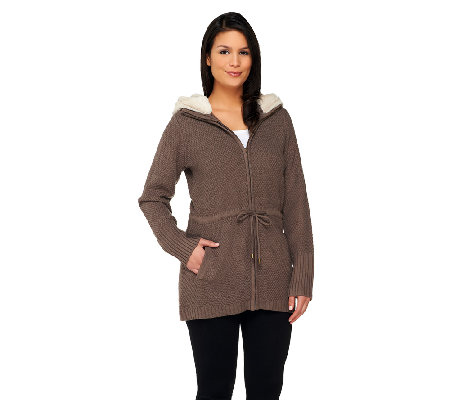 Dennis Basso Textured Sweater with Faux Fur Hood