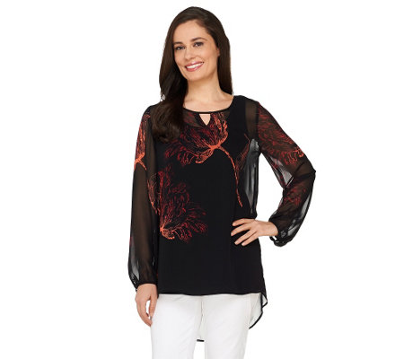 Susan Graver Placement Print Sheer Chiffon Tunic with Keyhole
