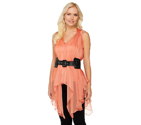 Mark of Style by Mark Zunino Asymmetric Hem Tunic with Cami and Belt