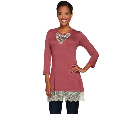 LOGO Lavish by Lori Goldstein Embellished Knit Top with Lace Trim