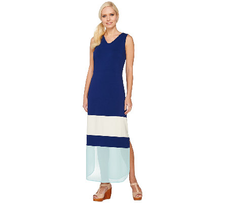 Styled by Joe Zee Color-Block Long Dress w/ Chiffon Hem